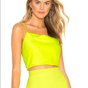 Alice + Olivia neon crop top with untouched stain
